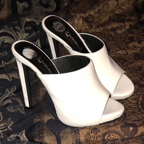 Jeffery Campbell White Mule Heels